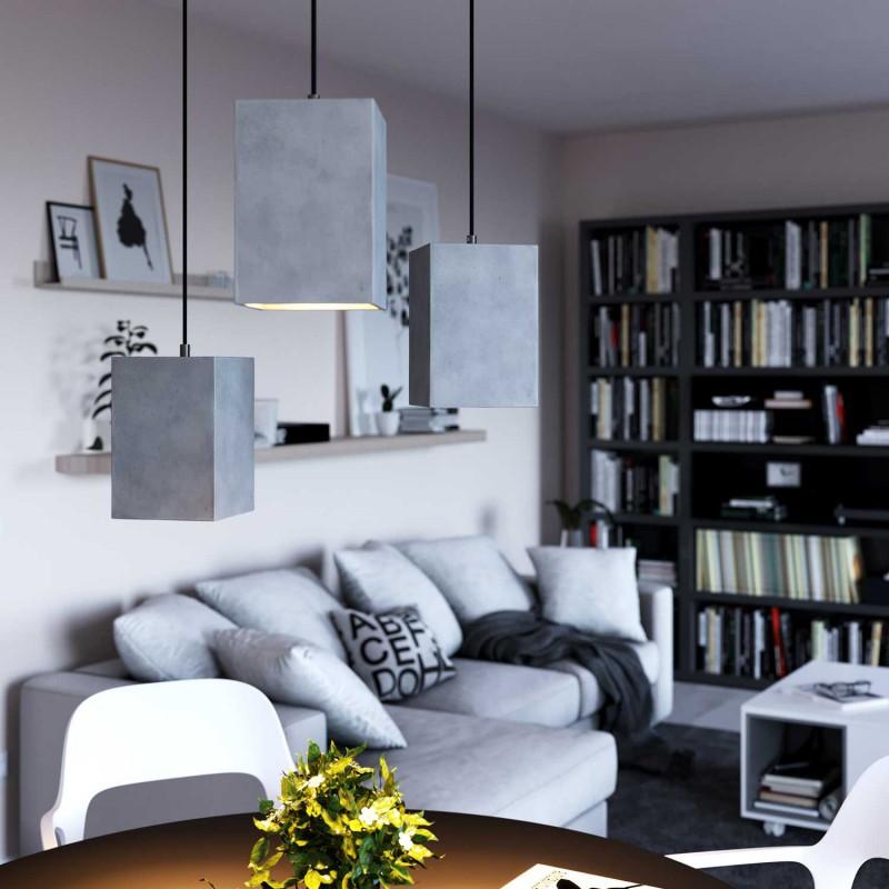 Pendelleuchte inklusive Textilkabel, Cube Lampenschirm aus Zement und Metall-Zubehör - Made in Italy