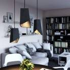 Pendelleuchte inklusive Textilkabel, Prisma Lampenschirm aus Zement und Metall-Zubehör - Made in Italy