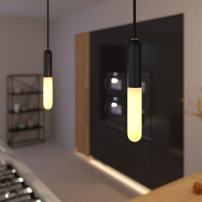 Pendelleuchte inklusive Textilkabel, E14 P-Light Lampenfassung und Metall-Zubehör - Made in Italy