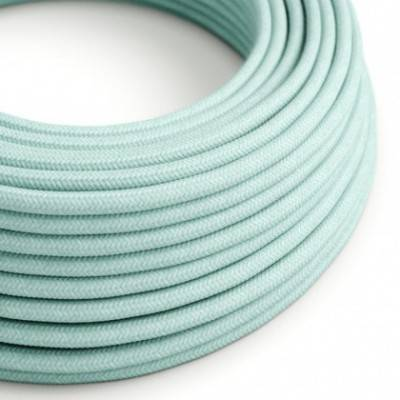 Rundes Textilkabel in Celadon Grün aus Baumwolle, RC18