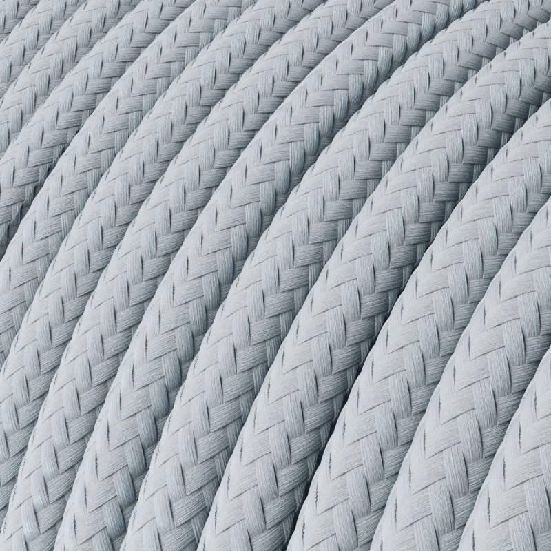 Rundes Textilkabel in Hellblau-Grau mit Seideneffekt, RM30