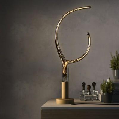 LED-Glühbirne rauchgrau mit kunstvollem Doppelhorn-Filament, 6W E27 2200K, dimmbar