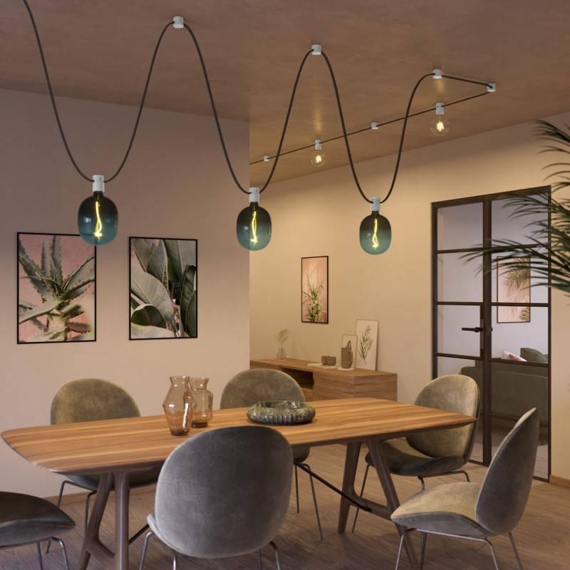 Lampenbaldachin aus Holz für Lichterketten und Filé-System. Made in Italy