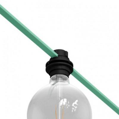 E27 thermoplastische Lampenfassung für Lampenschirme und Lichterketten in Schwarz mit Doppelklemmring