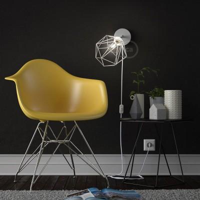 Spostaluce Metallo 90°, die verstellbare Lichtquelle mit E27 Gewindelampenfassung, Textilkabel und seitlichen Löchern