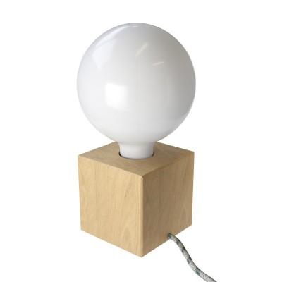 Posaluce Cubetto, Holz-Tischlampe komplett mit Textilkabel, Schalter und 2-poligem Stecker