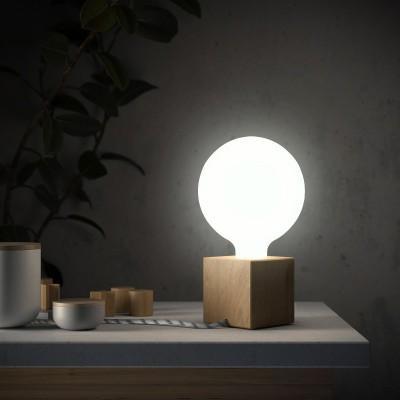 Posaluce Wood S, Holz-Tischlampe komplett mit Textilkabel, Schalter und 2-poligem Stecker