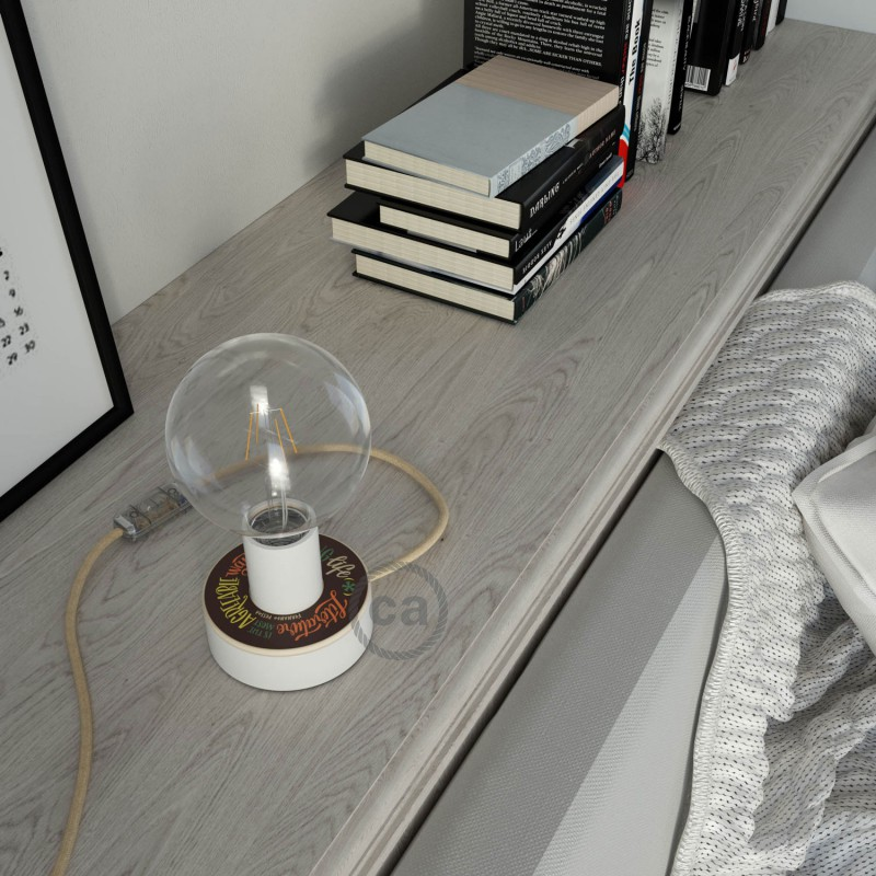 MINI-UFO-Posaluce aus Holz mit doppelseitigem Pemberley- Pond, komplett mit Textilkabel, Schalter und 2-poligem Stecker