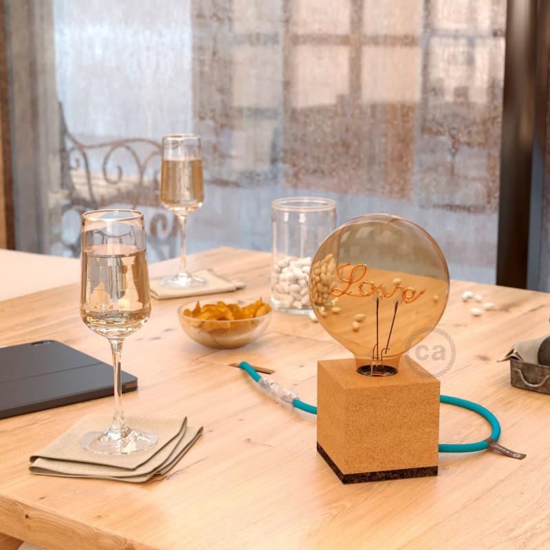 MoCo Posaluce Cubetto aus Naturkork komplett mit Textilkabel, Schalter und 2-poligem Stecker