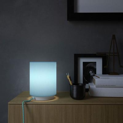 Metall Posaluce mit hellblauem Lampenschirm Cilindro, komplett mit Textilkabel, Schalter und 2-poligem Stecker