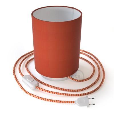 Posaluce aus Metall mit Lampenschirm Cilindro Cinette Aragosta, komplett mit Textilkabel, Schalter und 2-poligem Stecker