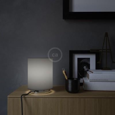 Metall Posaluce mit Lampenschirm Cilindro Electra Pinguino, komplett mit Textilkabel, Schalter und 2-poligem Stecker