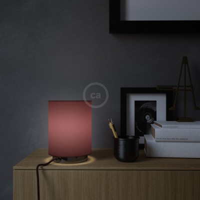 Metall Posaluce mit Lampenschirm Cilindro Leinwand Bordeaux, komplett mit Textilkabel, Schalter und 2-poligem Stecker
