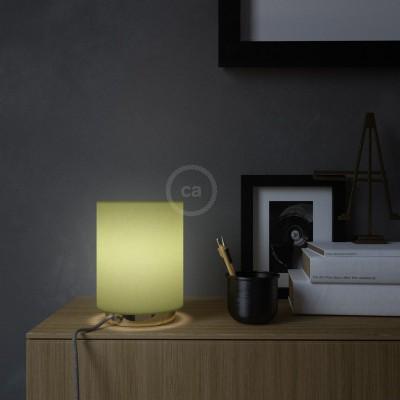 Metall Posaluce mit Lampenschirm Cilindro Leinwand Olivgrün, komplett mit Textilkabel, Schalter und 2-poligem Stecker