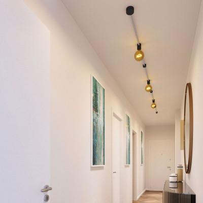 Linear-Kit des Filé-Systems - mit 5 m Kabel und 7 Zubehörteilen aus schwarzem Holz für den Innenbereich