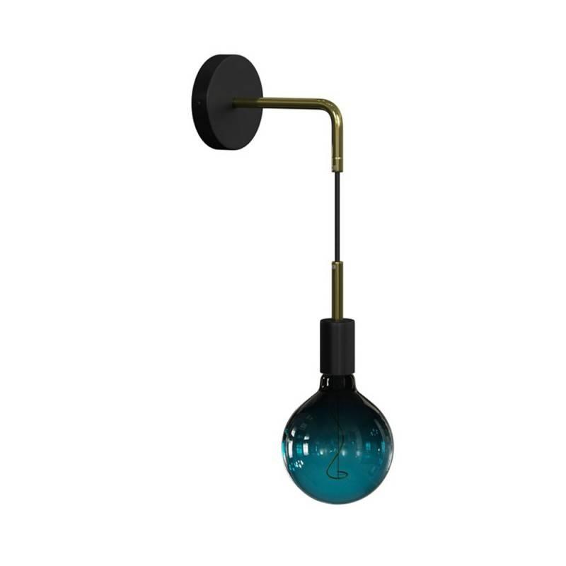 Fermaluce Metal aus glänzendem Metall, Pendelleuchte, Wandleuchte mit gebogenes Rohr