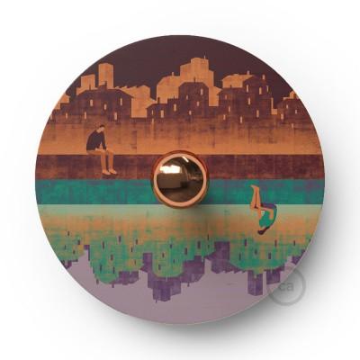 Fermaluce UFO mit doppelseitigem Holzlampenschirm, illustriert von verschiedenen Künstlern, romantisch