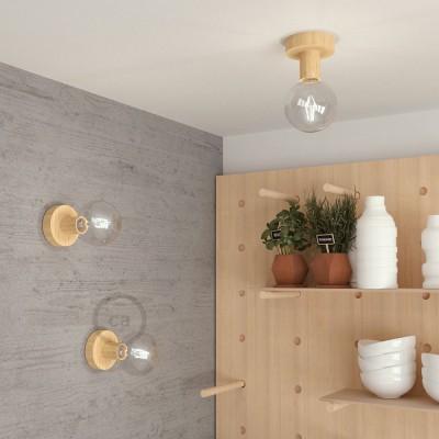 Fermaluce Wood S, die Leuchte aus Naturholz für Ihre Wand und Decke