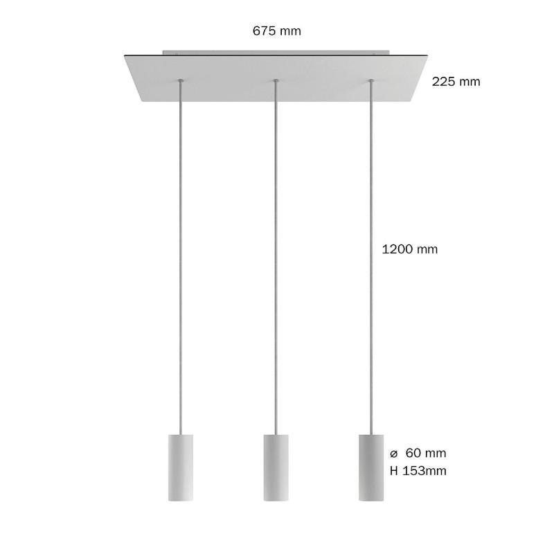 3-flammige Pendelleuchte mit rechteckigem XXL-Rose-One 675 mm komplett mit Textilkabel und Tub-E14-Lampenschirm aus Metall