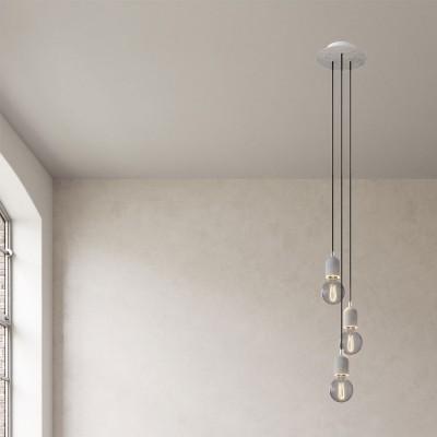 Pendelleuchte mit Mehrfachaufhängung mit 3 Ausgängen, mit rundem Rose-One 200 mm, komplett mit Textilkabel und Zement-Zubehör