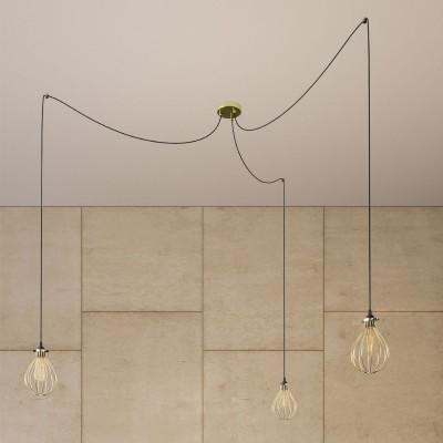 Spider - Pendelleuchte mit Mehrfachaufhängung mit 3 Ausgängen Made in Italy, komplett mit Textilkabel und Drop Lampenschirm