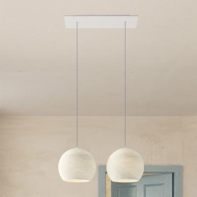 Pendelleuchte Mehrfachaufhängung 2 Ausgänge, rechteckiger XXL Rose-One 675 mm, komplett mit Textilkabel + Kuppel Lampenschirm M
