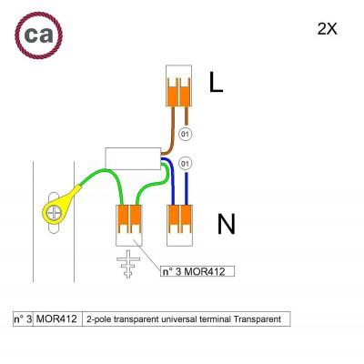 Kit Verbindungsklemme WAGO kompatibel mit Kabel 2x für Lampenbaldachin mit 1 Loch