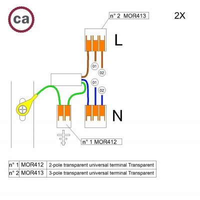 Kit Verbindungsklemme WAGO kompatibel mit Kabel 2x für Lampenbaldachin mit 2 Löchern