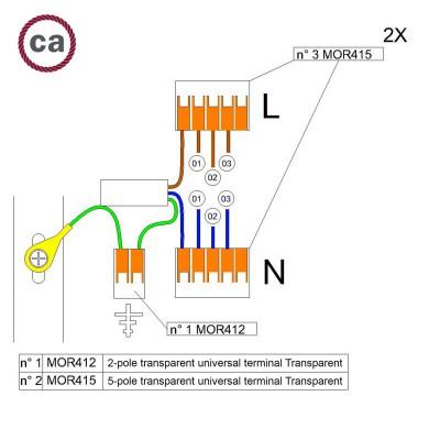 Kit Verbindungsklemme WAGO kompatibel mit Kabel 2x für Lampenbaldachin mit 3 Löchern