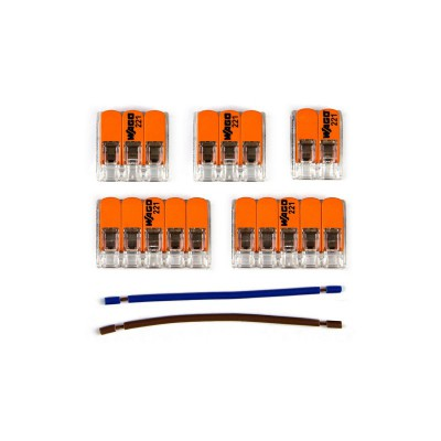 Kit Verbindungsklemme WAGO kompatibel mit Kabel 2x für Lampenbaldachin mit 5 Löchern