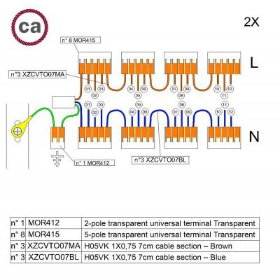 Kit Verbindungsklemme WAGO kompatibel mit Kabel 2x für Lampenbaldachin mit 12 Löchern