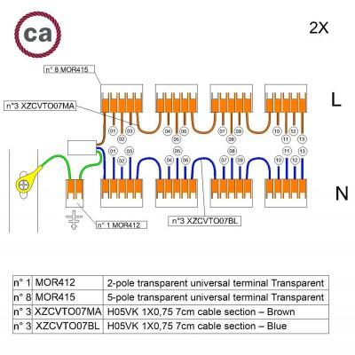 Kit Verbindungsklemme WAGO kompatibel mit Kabel 2x für Lampenbaldachin mit 13 Löchern