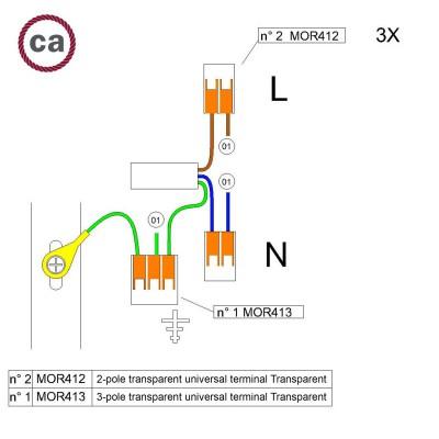 Kit Verbindungsklemme WAGO kompatibel mit Kabel 3x für Lampenbaldachin mit 1 Loch