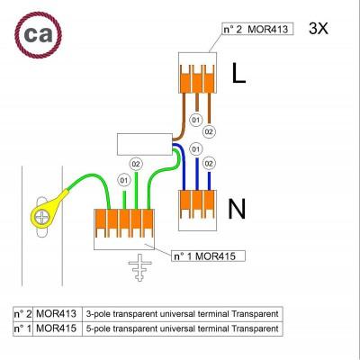 Kit Verbindungsklemme WAGO kompatibel mit Kabel 3x für Lampenbaldachin mit 2 Löchern