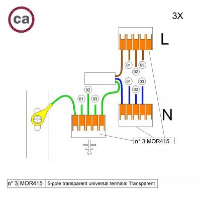 Kit Verbindungsklemme WAGO kompatibel mit Kabel 3x für Lampenbaldachin mit 3 Löchern