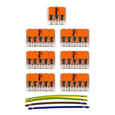 Kit Verbindungsklemme WAGO kompatibel mit Kabel 3x für Lampenbaldachin mit 6 Löchern