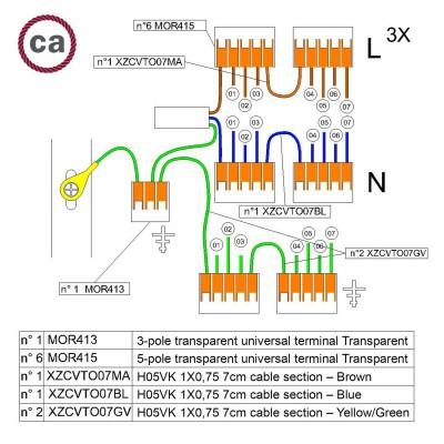 Kit Verbindungsklemme WAGO kompatibel mit Kabel 3x für Lampenbaldachin mit 7 Löchern