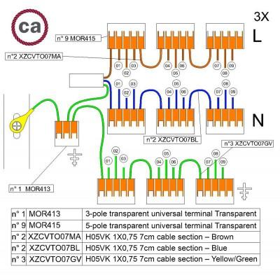 Kit Verbindungsklemme WAGO kompatibel mit Kabel 3x für Lampenbaldachin mit 9 Löchern