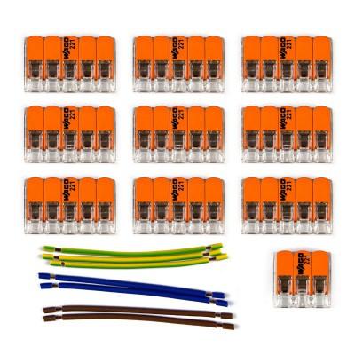 Kit Verbindungsklemme WAGO kompatibel mit Kabel 3x für Lampenbaldachin mit 10 Löchern