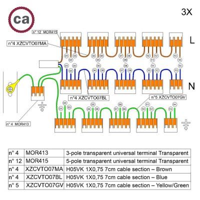 Kit Verbindungsklemme WAGO kompatibel mit Kabel 3x für Lampenbaldachin mit 14 Löchern