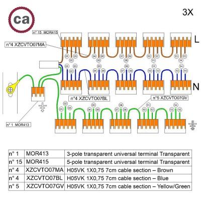 Kit Verbindungsklemme WAGO kompatibel mit Kabel 3x für Lampenbaldachin mit 15 Löchern