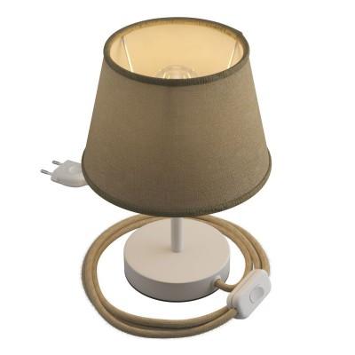 Alzaluce mit Lampenschirm Impero, Tischlampe aus Metall mit 2-poligem Stecker, Kabel und Schalter