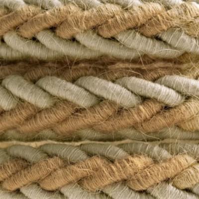 Geflochtenes Tauseil 2XL aus Jutefaser und natürlichem, grauen Leinen. Elektrokabel 2x0,75. Durchmesser 24mm