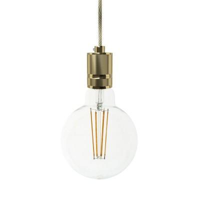 Pendelleuchte inklusive Textilkabel und gefräster Lampenfassung aus Aluminium - Made in Italy