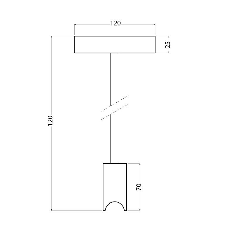 Minimalistische Deckenleuchte mit S14d Syntax Sockel und 30 cm Verlängerungsrohr aus Metall