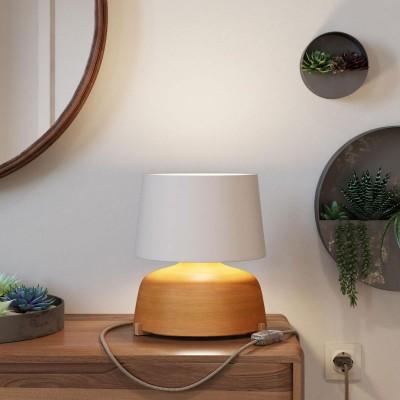 Tassenförmige Tischleuchte aus Keramik mit Athena Lampenschirm, komplett mit Textilkabel, Schalter und 2-poligem Stecker