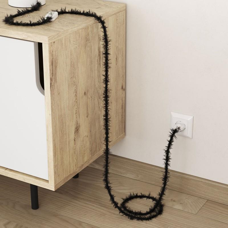Geflochtenes Elektrokabel Marlene mit Stoffummantelung im Fransen-Look, einfarbig Schwarz TP04