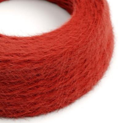 Geflochtenes Elektrokabel Marlene mit Stoffummantelung im Fransen-Look, einfarbig Rot TP09