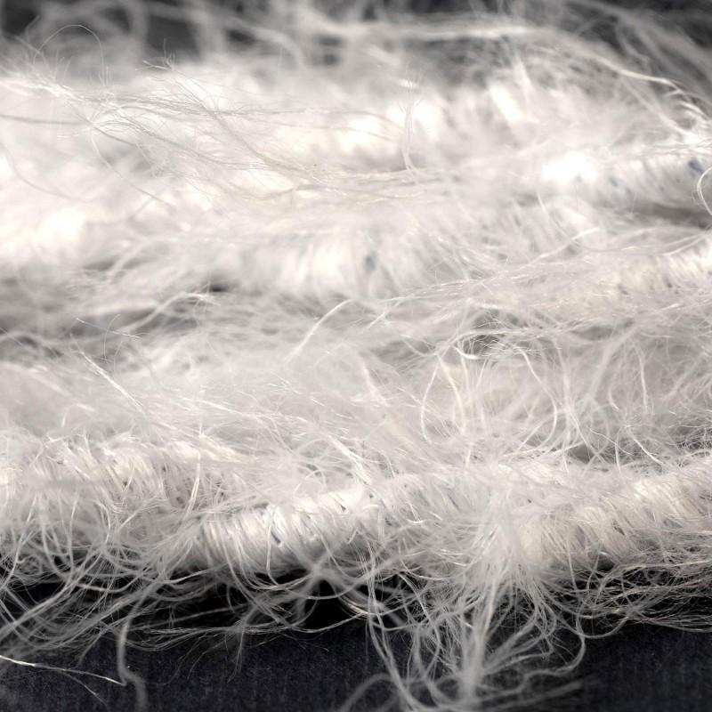 Geflochtenes Elektrokabel Marlene mit Stoffummantelung im Fransen-Look, einfarbig Weiß TP01