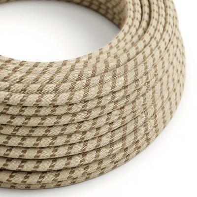 Elektrisches Kabel rund überzogen mit Baumwolle Streifen Farbe-Rinde und natürliches Leinen RD53